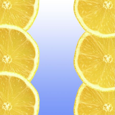 Six fresh lemon slices, three on each side on a vertical axis, with a sky blue gradient  center in between.