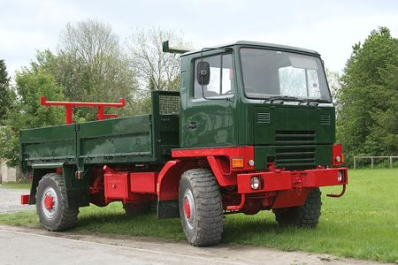 idle: Old red and green truck with a tail gate, standing idle on the grass. Stock Photo