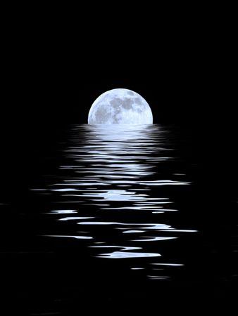 cycles: R�sum� d'une pleine lune bleu sur l'�quinoxe de printemps traduit de l'eau et de fixer sur un fond noir.