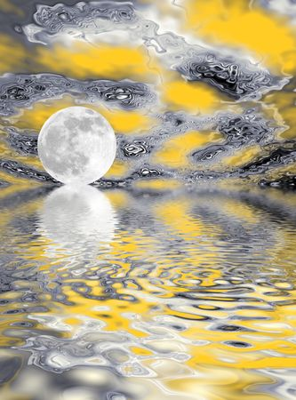 moonrise: Fantasy of a rising full moon reflected over water and set against a swirling yellow, grey,white and black abstract sky.