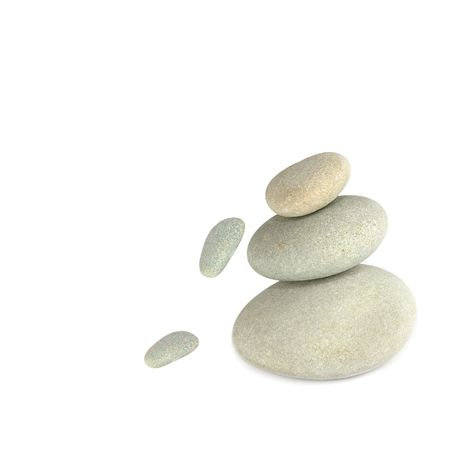 freefall: Three natural grey pebbles balanced on top of each other, with two smaller pebbles in freefall, against a white background.