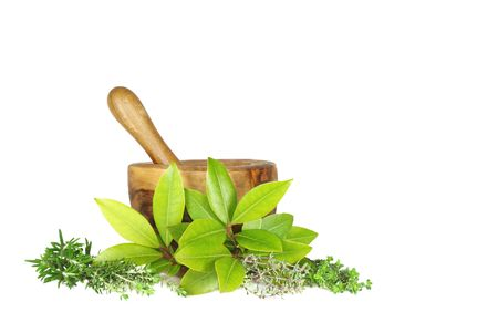 mortar and pestle medicine: Fresh herb selection  of rosemary, golden thyme, bay leaves, silver thyme and common thyme (left to right) with an olive wood pestle and mortar to the rear. Set against a white background. Stock Photo