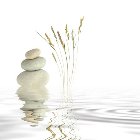 grasses: Abstract of three natural grey pebbles balanced on top of each other, with a selection of wild grasses to one side reflected over gray rippled water. Set against a white background. Stock Photo