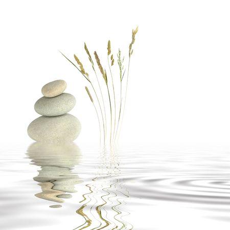 Résumé de trois galets gris naturel équilibré les uns sur les autres, avec une sélection d'herbes sauvages d'un côté reflète sur l'eau grise des rides. Ensemble contre un fond blanc.