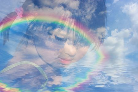 Abstract composite of the face of a young girl with a merged blue sky, clouds and rainbow reflected over water. photo