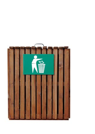 Wooden slatted litter bin with metal sign in white and green. Isolated over white background. photo
