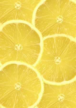 foodie: Six overlapping fresh lemon citrus slices. Stock Photo