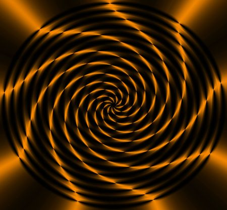 Abstract  black and gold circular wheel of light with curved flowing lines radiating out from the center. photo