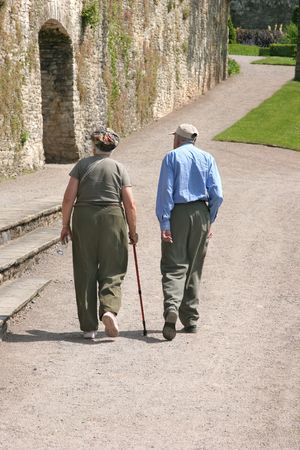 Elderly man and woman walking along a path with the female holding a walking stick. Rear view. Stock Photo