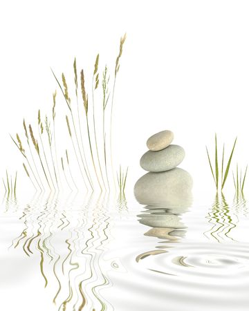 Abstract of three natural grey pebbles balanced on top of each other, with a selection of wild grasses and bamboo reflected over rippled water. Set against a white background.