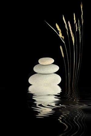 rippled: Zen abstract of wild grass and grey stones with reflection over rippled water, over black background.