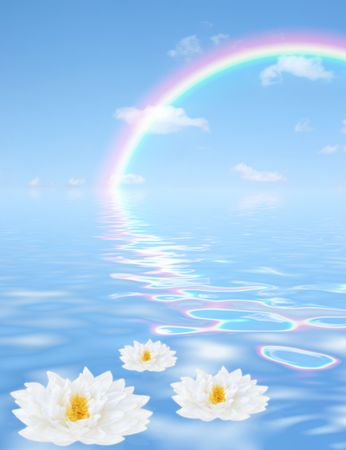 Fantasy abstract of a blue sky, rainbow and clouds with reflection in tranquil rippled water with three white lilies floating in the foreground. (Gladstoniana genus.) photo