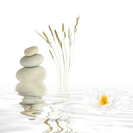 Zen abstract of three natural grey stones balanced on top of each other, wild grasses and a white lotus lily with reflection over rippled water. Over white background.