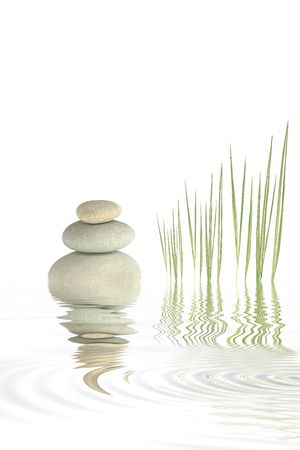 grey water: Zen abstract of bamboo grasses and three pebbles stacked on top of each other with reflection over rippled grey water, set against a white background.