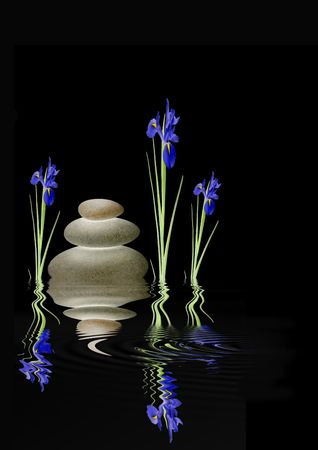 balanced rocks: Zen abstract design of blue iris flowers and a stack of three grey glowing spa stones with reflection over rippled water, over black background. Stock Photo