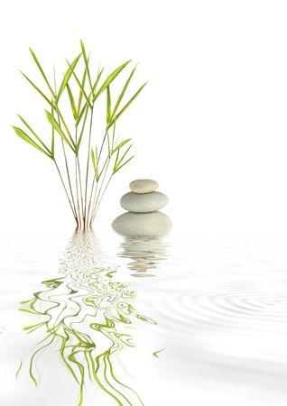 gramineas: Zen resumen de gris spa piedras y hierba de bamb� con rippled reflexi�n en el agua, m�s de fondo blanco.  Foto de archivo