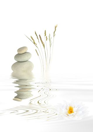 Abstract of grey spa stones balanced on top of each other, with a selection of wild grasses and a white lotus lily flower with reflection over rippled water. Over white background. Stock Photo - 3627798