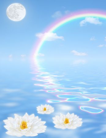 Fantasy abstract of a blue sky, rainbow, clouds and a full moon, with reflection in tranquil rippled blue water with three white lilies floating in the foreground. (Gladstoniana genus.)
