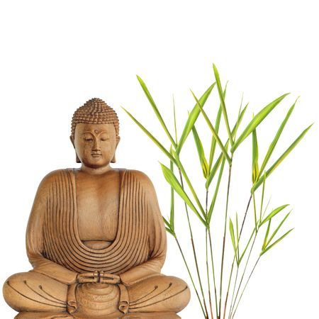 Buddha in meditation with bamboo leaf grass, over white background. photo