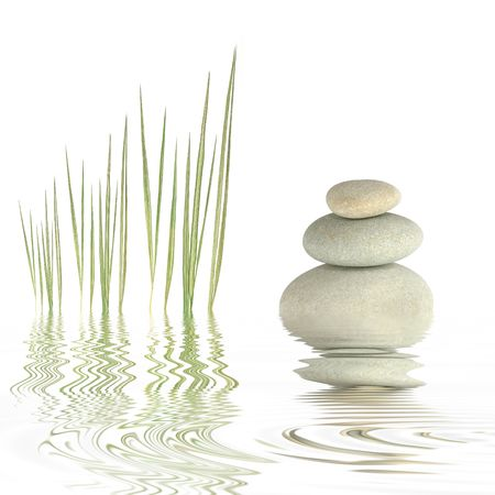 Zen abstract of grey spa stones and bamboo grass with reflection in  rippled water, over white background. Stock Photo - 3689662