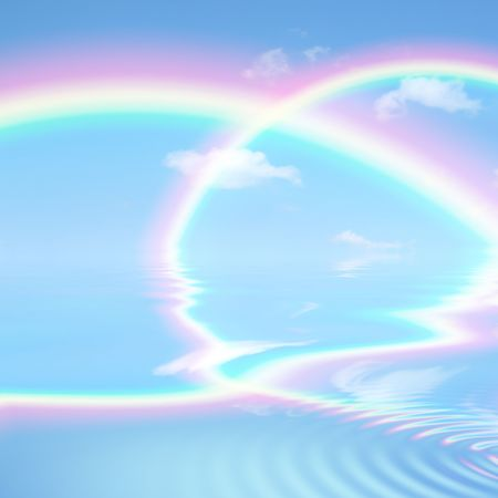 Double rainbow fantasy abstract against a blue sky with reflection over rippled water. photo