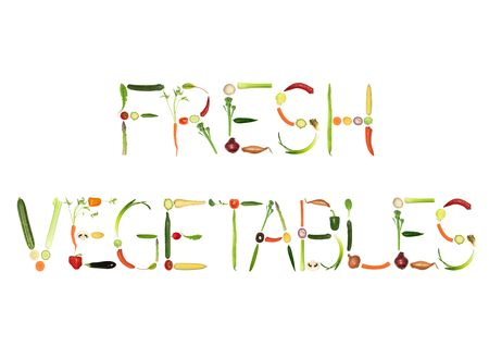 Vegetable selection spelling the words fresh vegetables, over white background. photo