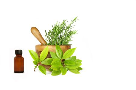 Herb leaf selection of rosemary and bay  with an olive wood pestle and mortar and aromatherapy essential oil brown glass bottle. Over white background. photo