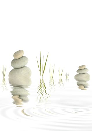 Zen abstract of  grey spa stones with bamboo grass and reflection  in rippled  water, over white background. Stock Photo - 3793028