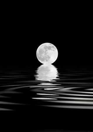 spring tide: Abstract of a  full moon on the Spring Equinox, with reflection over rippled water, over black background.