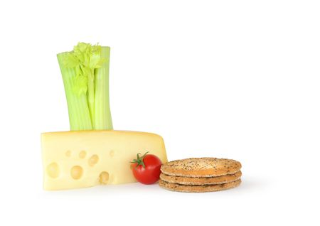 Dutch jarlsberg cheese wedge with three wholemeal crackers, a tomato and fresh celery, over  white background. Stock Photo - 3831947