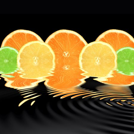 Lemon, lime and orange citrus fruit slices with reflection over rippled water, over black background. photo