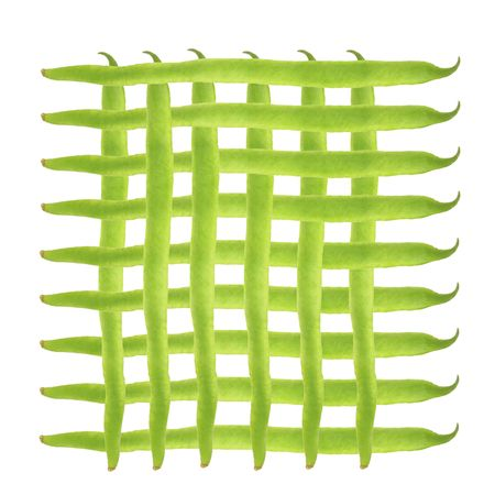 criss: Runner beans in a criss cross geometric abstract design over white background.  Stock Photo