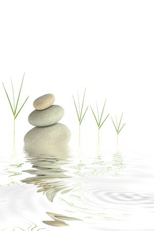 Zen abstract of bamboo leaf grass and grey spa stones with reflection over rippled water, against white background. Stock Photo - 3868709