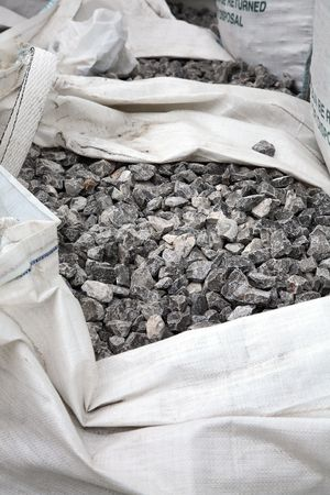 ton: Large stone gravel in a one ton bag.