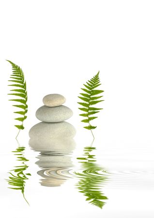 balanced rocks: Zen abstract of grey spa stones two green fern leaves either side and  reflection over rippled water. Against white background.