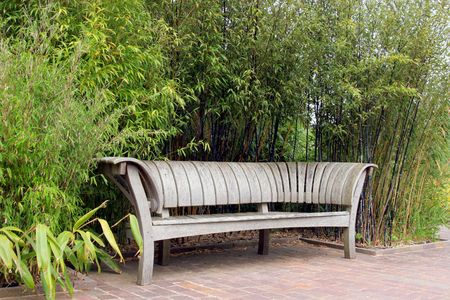Japanese oak wooden garden bench standing on a terracotta tiled patio with bamboo plants to the rear. photo