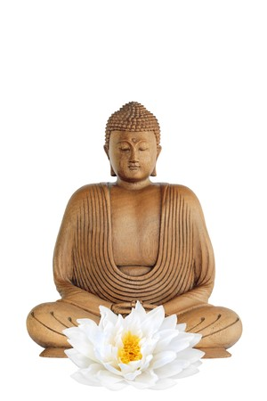 ancient philosophy: Buddha smiling with eyes closed in prayer and a lotus lily flower, over white background.