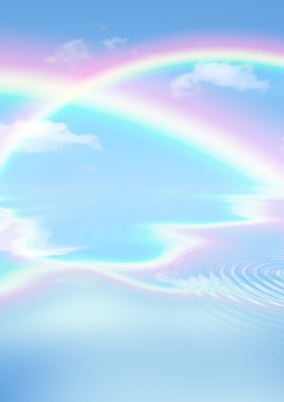 Fantasy abstract of double rainbows against a blue sky with reflection over rippled water. Stock Photo - 3974556