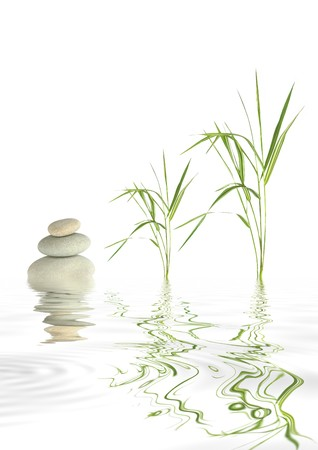 stacked stones: Zen abstract of grey spa stones and bamboo leaf grass with reflection over rippled water, against  white background.