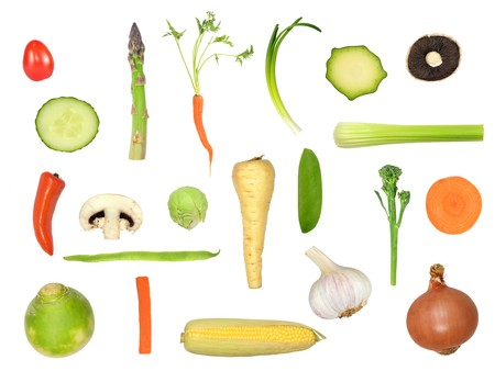 Vegetable selection in abstract design isolated over white background. Tomato, runner bean, garlic, turnip, asparagus, carrot, spring onion, courgette, mushroom, cucumber, chilli pepper, sprout, parsnip, mangetout, broccoli, sweet corn. Stock Photo - 4165596