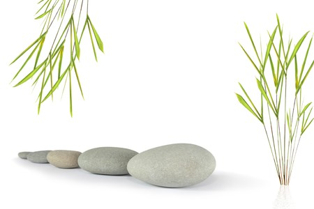 Zen abstract of five grey stones with bamboo leaf grass, over white background. Focus on the front stone. photo