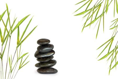 energy healing: Abstract di sei pietre massaggio nero spa in perfetto equilibrio con l'erba in foglia di bamb� Zen, su sfondo bianco.