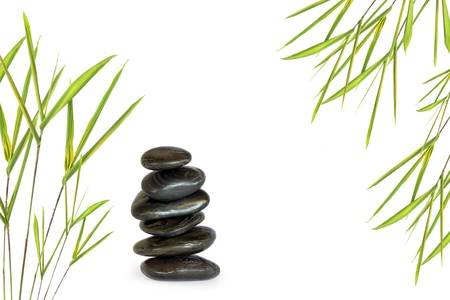 healing plant: Zen abstract of six black spa massage stones in perfect balance with bamboo leaf grass, over white background.