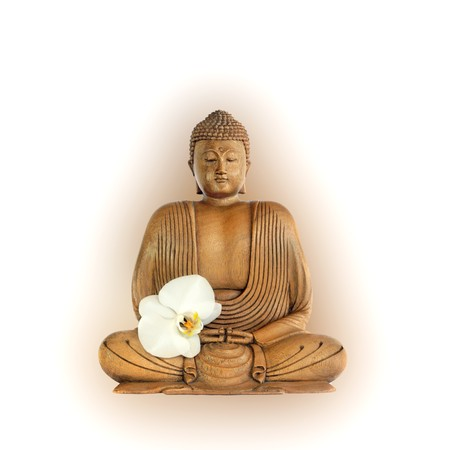 Buddha with aura and eyes closed in prayer with an orchid flower, over white background. photo