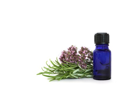 oil bottle: Rosemary herb leaves and marjoram flowers with a blue glass essential oil bottle, over white background.