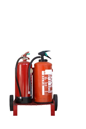 Two red fire extinguishers on a trolley with wheels and an alarm bell isolated over white. Stock Photo - 4325715