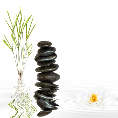 shui: Zen garden abstract of black spa stones in perfect balance and natural bamboo grass with reflection over grey rippled water and a lotus lily flower, against white background.