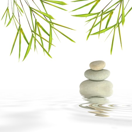shui: Zen abstract of gray spa stones in perfect balance and bamboo leaf grass with reflection over rippled water, against a white background. Stock Photo