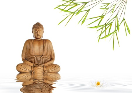 smiling buddha: Zen abstract of a buddha in prayer in a garden