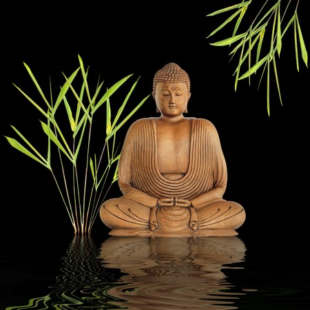 Zen abstract of a buddha in prayer in a garden with bamboo leaf grass and reflection over rippled water, over black background.
